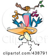 Royalty Free RF Clip Art Illustration Of A Cartoon Nutty Bird Hanging Upside Down