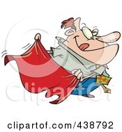 Royalty Free RF Clip Art Illustration Of A Cartoon Businessman Teasing With A Red Cape by Ron Leishman