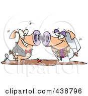 Royalty Free RF Clip Art Illustration Of A Cartoon Pig Wedding Couple In A Puddle Of Mud