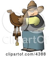 Cowboy Carrying A Brown Leather Horse Saddle Clipart