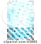 Clipart Illustration Of A Blue Halftone Pixelated Background With Hazard Stripes by Arena Creative
