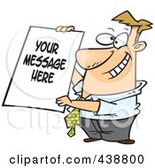 Royalty Free RF Clip Art Illustration Of A Cartoon Businessman Holding A Sign With Sample Text by toonaday