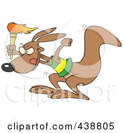 Royalty Free RF Clip Art Illustration Of A Cartoon BOlympic Kangaroo With A Torch