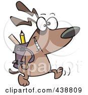 Cartoon School Dog Walking With A Backpack