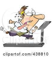 Royalty Free RF Clip Art Illustration Of A Cartoon Businessman Running On A Treadmill In The Office Gym