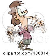 Royalty Free RF Clip Art Illustration Of A Cartoon Businesswoman Doing Calisthenics