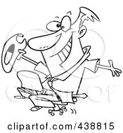 Royalty Free RF Clip Art Illustration Of A Cartoon Black And White Outline Design Of A Businessman Riding A Chair Like A Rodeo Cowboy