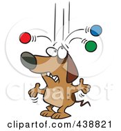Royalty Free RF Clip Art Illustration Of An Old Cartoon Dog Trying To Juggle Balls