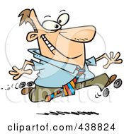 Royalty Free RF Clip Art Illustration Of A Cartoon Businessman Roller Skating In The Office