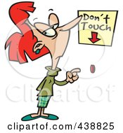 Royalty Free RF Clip Art Illustration Of A Cartoon Woman About To Push A Restricted Button by toonaday