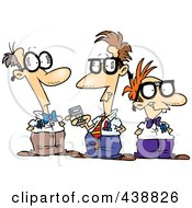 Royalty Free RF Clip Art Illustration Of A Cartoon Group Of Nerds Talking