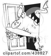 Cartoon Black And White Outline Design Of A Monster Coming Through A Door