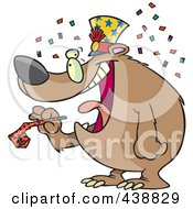 Royalty Free RF Clip Art Illustration Of A Cartoon New Year Bear Holding A Noise Maker by toonaday