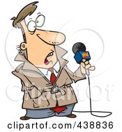 Royalty Free RF Clip Art Illustration Of A Cartoon Stunned News Reporter by Ron Leishman