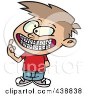 Cartoon Boy Showing His New Braces