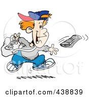 Royalty Free RF Clip Art Illustration Of A Cartoon Boy Tossing A Newspaper