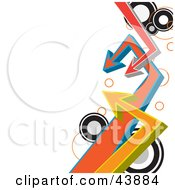 Clipart Illustration Of A Border Of Circles And Arrows Pointing To A White Background