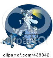 Royalty Free RF Clip Art Illustration Of A Cartoon Man Golfing At Night by toonaday