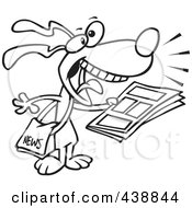 Royalty Free RF Clip Art Illustration Of A Cartoon Black And White Outline Design Of A News Dog