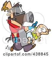 Royalty Free RF Clip Art Illustration Of A Cartoon New Dad Wearing Protective Gear And Carrying A Baby by toonaday