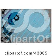 Clipart Illustration Of A Blue Background Of Grunge Circles Arrows And Diagonal Lines
