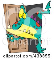 Royalty Free RF Clip Art Illustration Of A Cartoon Monster Coming Through A Door