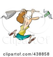 Royalty Free RF Clip Art Illustration Of A Cartoon Woman Chasing Money With A Net