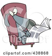 Royalty Free RF Clip Art Illustration Of A Cartoon Chair And Reading The News
