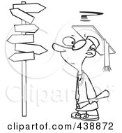 Royalty Free RF Clip Art Illustration Of A Cartoon Black And White Outline Design Of A Graduate Boy Staring At Many Signs by toonaday