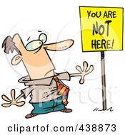 Royalty Free RF Clip Art Illustration Of A Cartoon Businessman Staring At A You Are Not Here Sign by toonaday