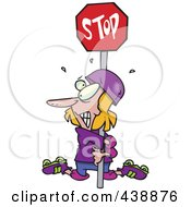 Royalty Free RF Clip Art Illustration Of A Cartoon Clumsy Roller Blader Hugging A Stop Sign by toonaday