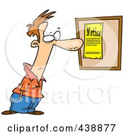 Royalty Free RF Clip Art Illustration Of A Cartoon Man Reading A Notice by toonaday