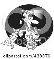Royalty Free RF Clip Art Illustration Of A Cartoon Black And White Outline Design Of A Man Golfing At Night