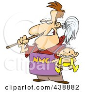 Cartoon Stay At Home Dad Holding A Baby