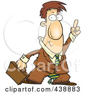 Royalty Free RF Clip Art Illustration Of A Cartoon Businessman Holding His Finger Up