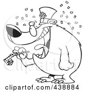 Royalty Free RF Clip Art Illustration Of A Cartoon Black And White Outline Design Of A New Year Bear Holding A Noise Maker