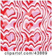 Clipart Illustration Of A Red Pink And White Background Of Abstract Hearts And Lines by Arena Creative