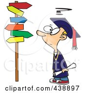 Royalty Free RF Clip Art Illustration Of A Cartoon Graduate Boy Staring At Many Signs by toonaday