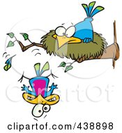 Royalty Free RF Clip Art Illustration Of A Cartoon Bird Falling Out Of The Nest