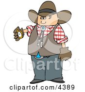 Cowboy Checking His Stopwatch Clipart