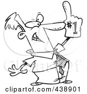 Royalty Free RF Clip Art Illustration Of A Cartoon Black And White Outline Design Of A Businessman Wearing A Number One Glove