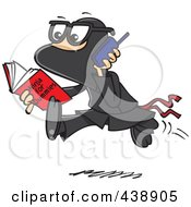 Royalty Free RF Clip Art Illustration Of A Cartoon Man Reading A Ninja For Dummies Book by Ron Leishman