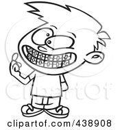 Cartoon Black And White Outline Design Of A Boy Showing His New Braces