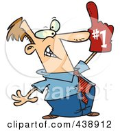 Royalty Free RF Clip Art Illustration Of A Cartoon Businessman Wearing A Number One Glove