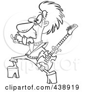 Royalty Free RF Clip Art Illustration Of A Cartoon Black And White Outline Design Of A Nerdy Guitarist