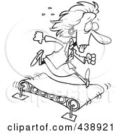 Royalty Free RF Clip Art Illustration Of A Cartoon Black And White Outline Design Of A Businesswoman Getting Nowhere On A Treadmill by Ron Leishman