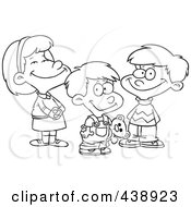 Cartoon Black And White Outline Design Of A Girl And Two Boys