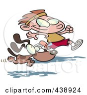 Royalty Free RF Clip Art Illustration Of A Cartoon Dog Running With A Boy by toonaday