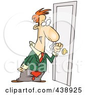 Royalty Free RF Clip Art Illustration Of A Cartoon Businessman Knocking On A Door