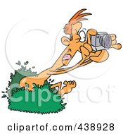 Royalty Free RF Clip Art Illustration Of A Cartoon Nude Man Popping Out Of A Bush And Taking Pictures